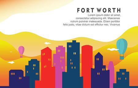Fort Worth Texas City Building Cityscape Skyline Dynamic Background Illustration