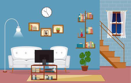 Salon Moderne Maison Familiale Intérieur Meubles Illustration Vectorielle Vecteurs