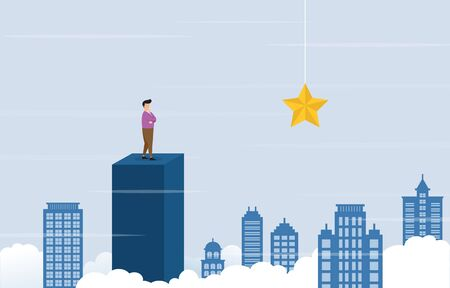 Businessman on Top of Building Thinking How to Reach Target with Obstacle Business Concept Illustration