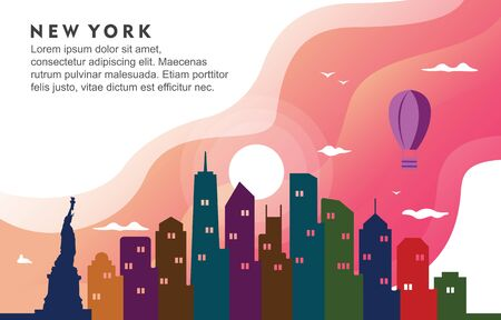 New York City Building Cityscape Skyline Dynamic Background Illustration Illustration