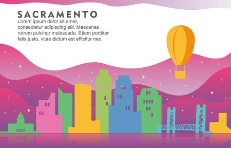 Sacramento Washington City Building Cityscape Skyline Dynamic Background Illustration Illustration