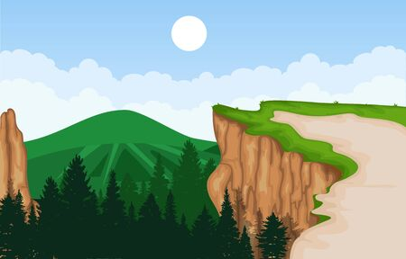 Mountain Valley Cliff Tree Nature Landscape Vector Illustration 向量圖像