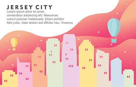 Jersey New City Building Cityscape Skyline Dynamic Background Illustration Illusztráció