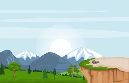 Mountain Valley Cliff Tree Nature Landscape Vector Illustration 矢量图像
