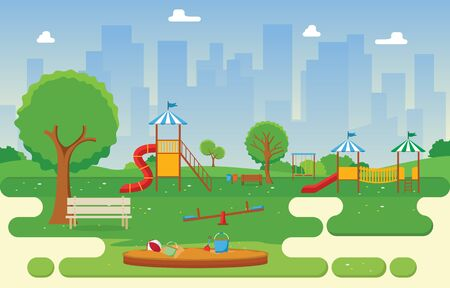 City Park in Summer with Kid Playground Playing Equipment Illustration Illustration
