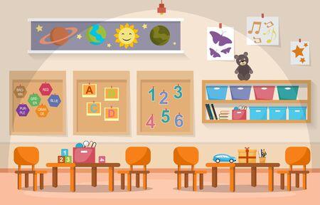 Kindergarten Classroom Interior Children Kids School Toys Furniture Vector Illustration