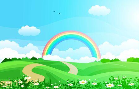 Hermoso cielo de arco iris con ilustración de paisaje de naturaleza de montaña de prado verde