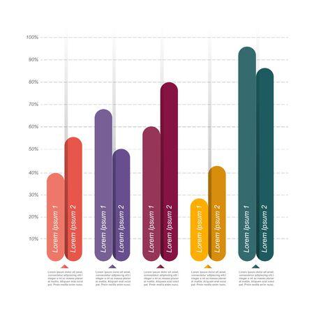 Gráfico Barras Diagrama Gráfico Estadística Negocios Infografía Ilustración