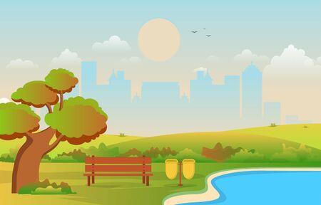 Beautiful City Park in Fall Autumn with Building Skyline Illustration Ilustración de vector