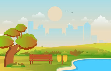 Beautiful City Park in Fall Autumn with Building Skyline Illustration Vetores