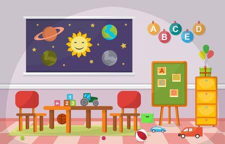 Kindergarten Classroom Interior Children Kids School Toys Furniture Vector Illustration Vecteurs