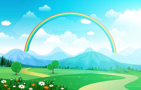 Schöner Regenbogen-Himmel mit grüner Wiese-Bergnatur-Landschaftsillustration
