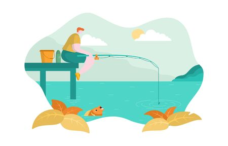 Man Sitting on Edge of Dock Fishing Sea Lake Flat Design Illustration