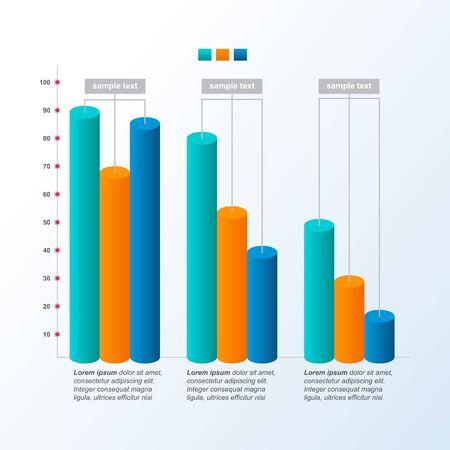 Graphique décroissant Graphique à barres Pression économique Problème financier Infographie statistique Vecteurs