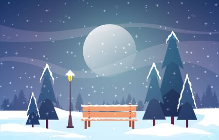 Winter Scene Snow Landscape with Pine Trees Mountain Vector Illustration
