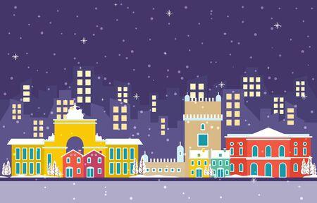 Winter-Schnee in Lissabon Stadt Stadtbild Skyline Wahrzeichen Gebäude Illustration