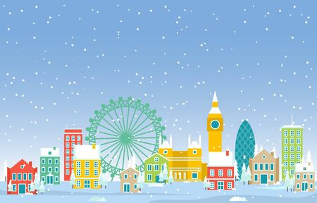 Winter Snow in London City Cityscape Skyline Landmark Building Illustration