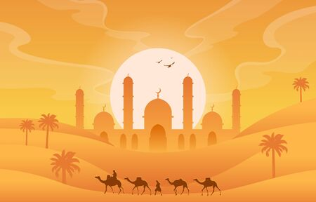 Golden Desert Islamic Mosque Date Palm Tree Arabian Landscape Illustration