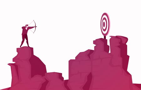 Businessman Standing on Cliff Aiming Success Target with Arrow Vector Illustration