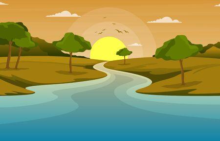 River Morning Sunrise Afternoon Sunset Mountain Forest Rural Landscape Illustration 일러스트