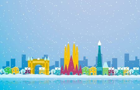 Winter Snow in Barcelona City Cityscape Skyline Landmark Building Illustration