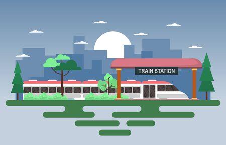 Railway Public Transport Commuter Metro Train Station Flat Illustration