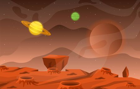 Surface du paysage de la planète Sky Space Science Fiction Fantasy Illustration