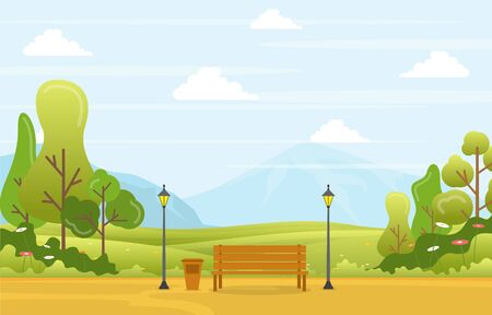 Summer Spring View in City Park Outdoor Landscape Flat Illustration