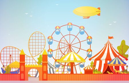 Amusement Park Circus Carnival Festival Fun Fair with Firework Landscape Illustration Векторная Иллюстрация