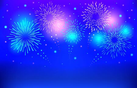 Colorful Brightly Beautiful Fireworks Abstract Background Vector Illustration