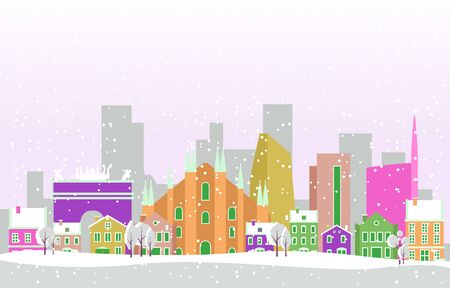 Winter Snow in Milan City Cityscape Skyline Landmark Building Illustration