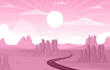 Day in Vast Western American Desert with Cactus Horizon Landscape Illustration Illusztráció