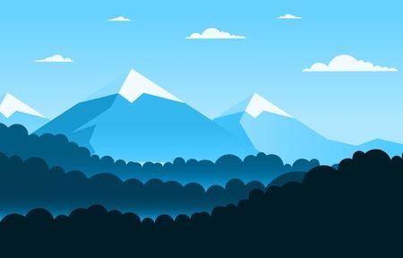 Simple Calm Mountain Forest Wild Nature Scene Landscape Monochrome Illustration