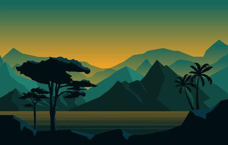 Evening Calm Mountain Forest Wild Nature Landscape Monochrome Illustration