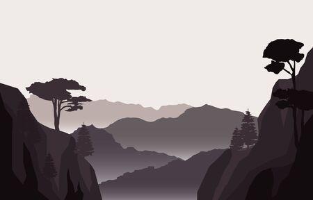 Calm Mountain Forest Wild Nature Scene Landscape Monochrome Illustration