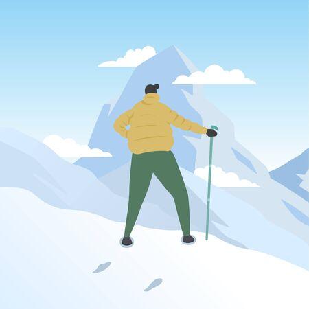 Hiker Mountaineer Man Standing on Top Ice Snow Mountain Flat Illustration Ilustração