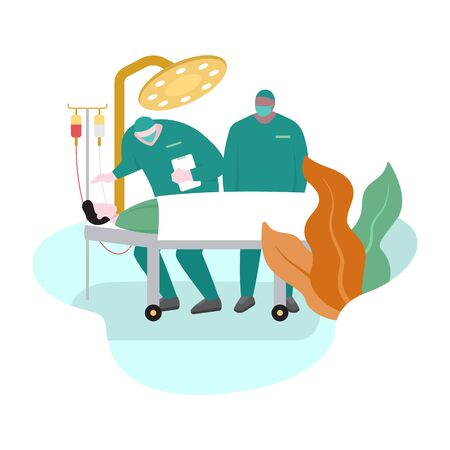 Surgeon Doctor Motivates Patient before Surgery Flat Design Illustration  イラスト・ベクター素材