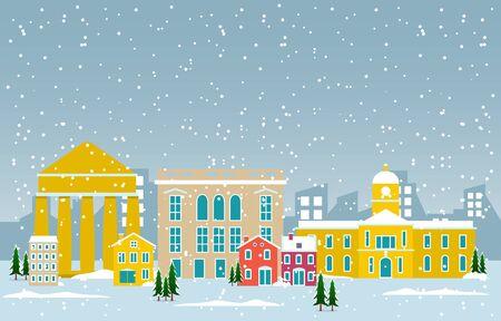 Winter Snow in Athens City Cityscape Skyline Landmark Building Illustration Vettoriali