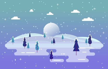 Winter Scene Snow Landscape with Pine Trees Mountain Simple Illustration
