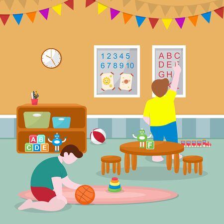 Kids Children Learning by Playing Education Toys Kindergarten Flat Illustration