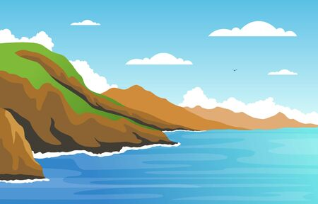 Beautiful Sea Panorama Beach Coast Bay Ocean Landscape Illustration