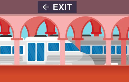 Railway Public Transport Commuter Metro Train Station Flat Illustration Stock Illustratie