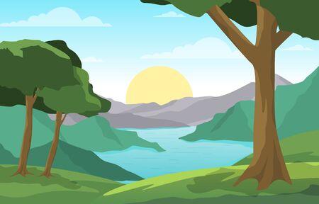 River Morning Sunrise Afternoon Sunset Mountain Forest Rural Landscape Illustration Vectores