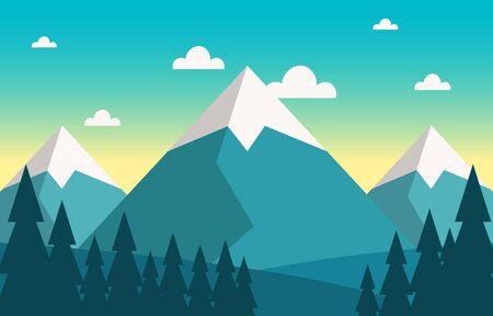 Simple Calm Mountain Forest Wild Nature Scene Landscape Monochrome Illustration Vectores