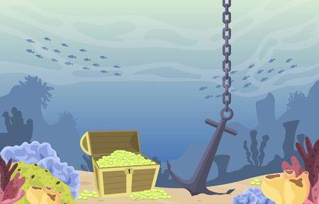 Pirate Gold Treasure Chest Anchor Marine Coral Underwater Ocean Illustration