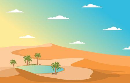 Oasis Date Palm Tree Desert Hill Arabian Landscape Illustration Illusztráció