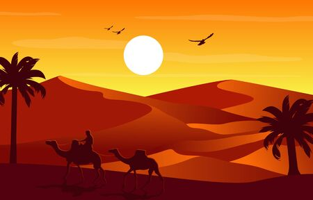 Camel Rider Crossing Vast Desert Hill Arabian Landscape Illustration