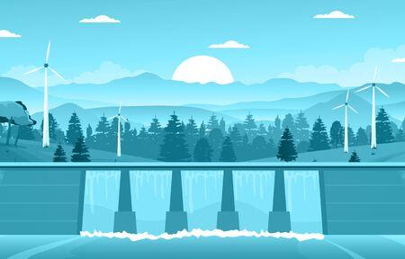 River Water Flowing Dam City Modern Building Landmark Illustration 矢量图像