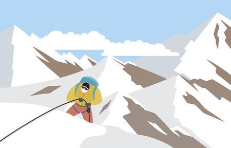 Hiker Mountaineer Man Climbing on Top Ice Snow Mountain Flat Illustration