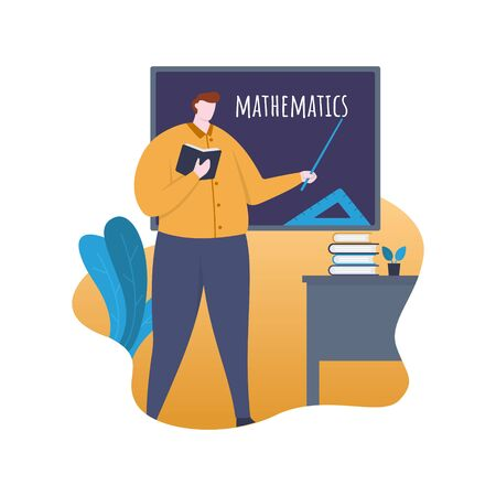 Mathematics Teacher Standing in front of Classroom with Blackboard Flat Illustration